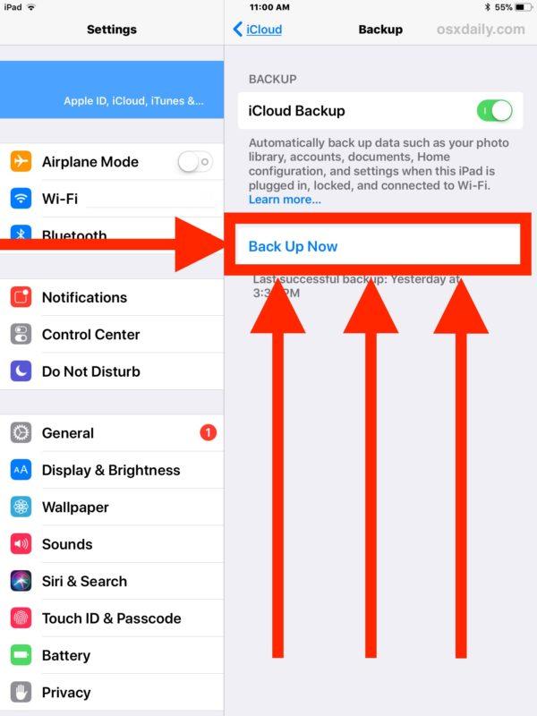 Stuknij pozycję Archiwizacja teraz, aby od razu utworzyć kopię zapasową systemu iOS w usłudze iCloud.