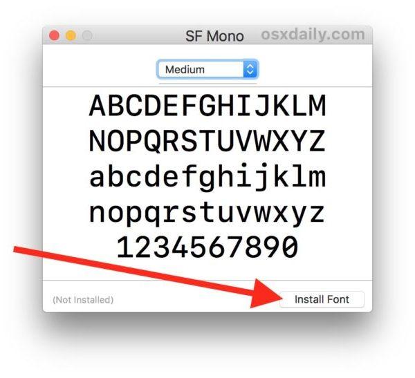 Установите SF Mono на Mac
