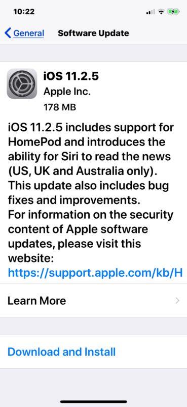 Обновление iOS 11.2.5 скачать