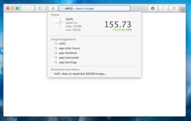 Быстро узнавайте стоимость акций в адресной строке Safari на Mac