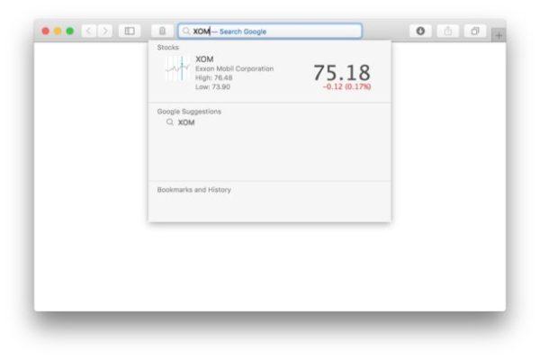 Смотрите стоимость акций тикера в адресной строке Safari