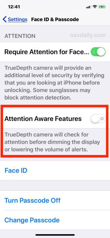 Отключите функции Attention Aware на iPhone X, чтобы отключить тихий звук звонка