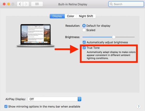 Отключить True Tone на дисплее Mac
