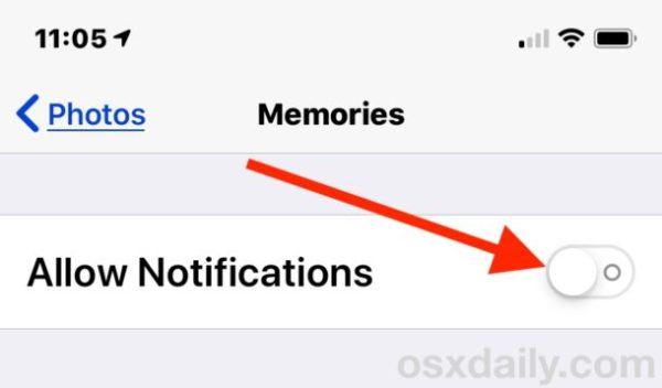 Отключить уведомления Photos Memories в настройках iOS