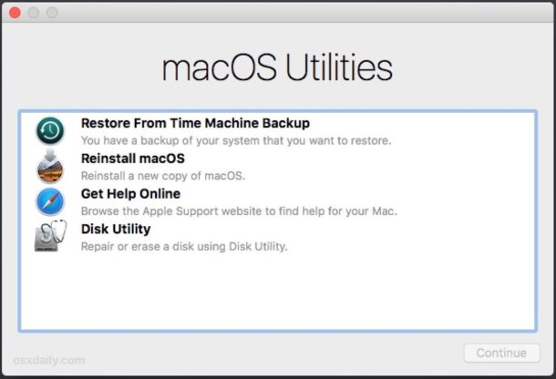 Параметры режима восстановления MacOS на экране утилит MacOS