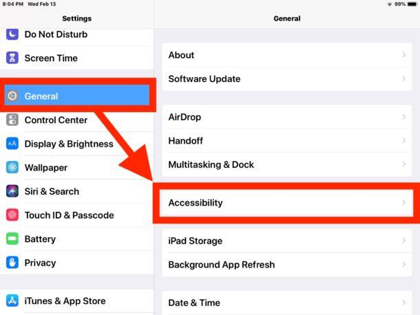 Как включить параметры большего размера текста на iPad