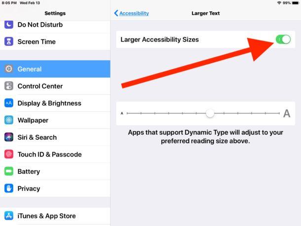 Включение параметров большего размера текста в специальных возможностях для iPad