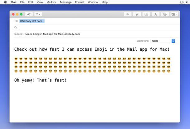 Добавление эмодзи в электронную почту на Mac