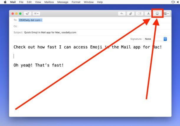 Как добавить эмодзи в Mail для Mac с помощью кнопки эмодзи