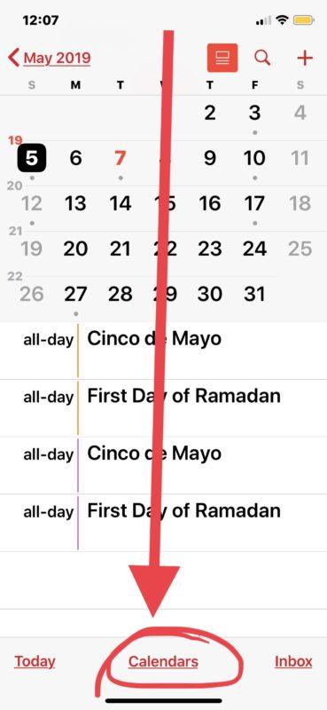 Как удалить календарь праздников с iPhone или iPad