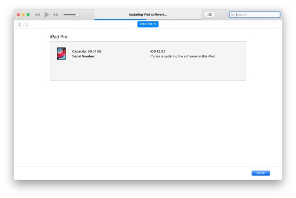 При установке бета-версии iPadOS 13 и бета-версии iOS 13 через iTunes отображается индикатор выполнения