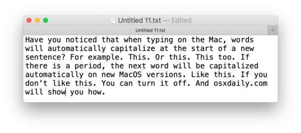 Как отключить автоматическое использование заглавных букв на Mac