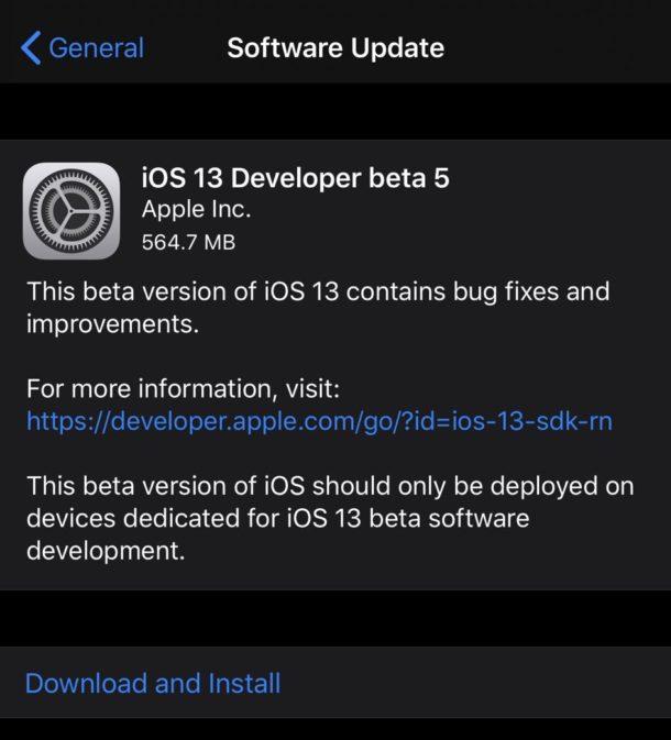 iOS 13 beta 5 и iPadOS 13 beta 5