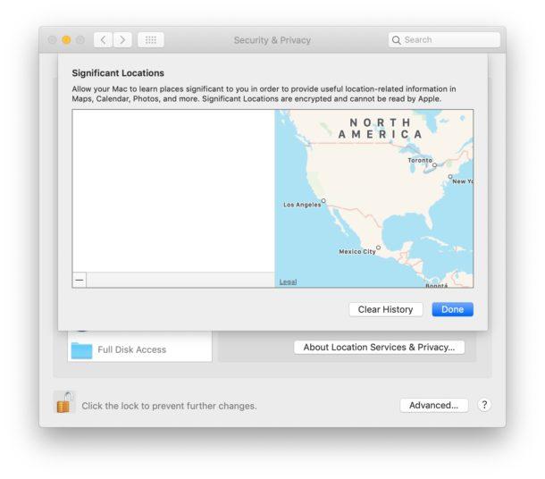 Как отключить и очистить важные местоположения на Mac