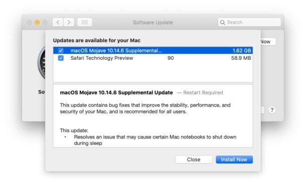 Загрузка дополнительного обновления MacOS Mojave 26 августа