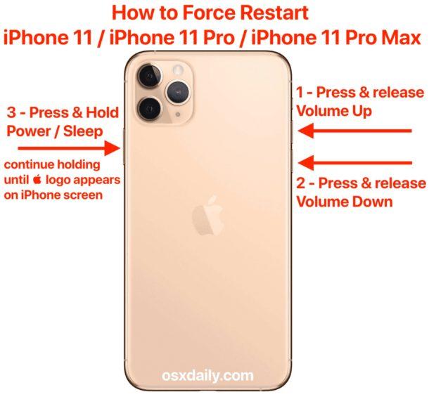 Как принудительно перезагрузить iPhone 11, iPhone 11 Pro, iPhone 11 Pro Max