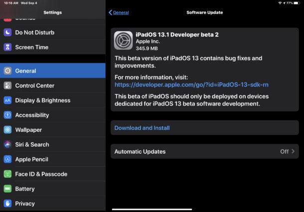iOS 13.1 бета 2