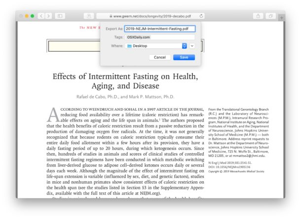 Saving and downloading a PDF file from Safari to Mac
