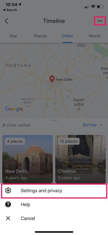 Как удалить историю местоположений Google на iPhone
