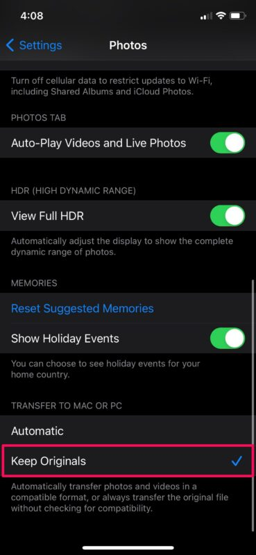 Changing the iPhone's transfer settings