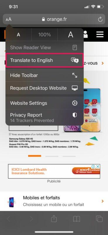 Как переводить веб-страницы в Safari на iPhone и iPad