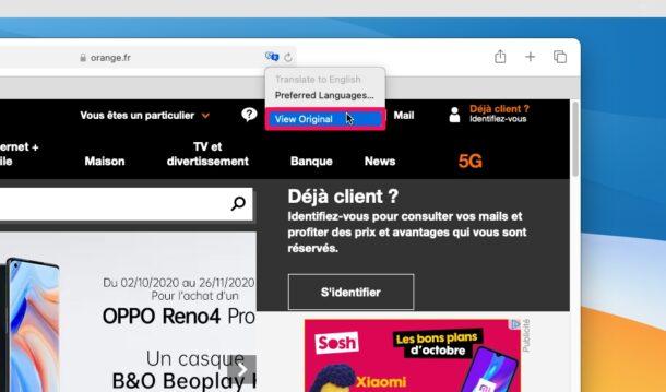 Как использовать переводчик веб-страниц в Safari для Mac