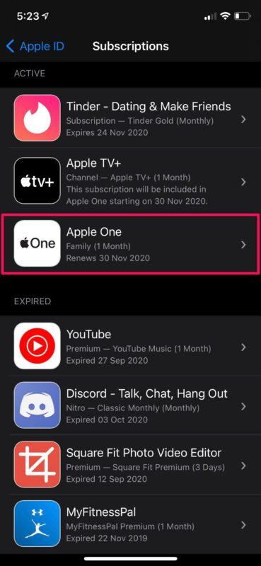 Как изменить план подписки Apple One