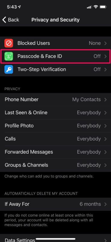 Как заблокировать чаты Telegram с помощью Face ID на iPhone
