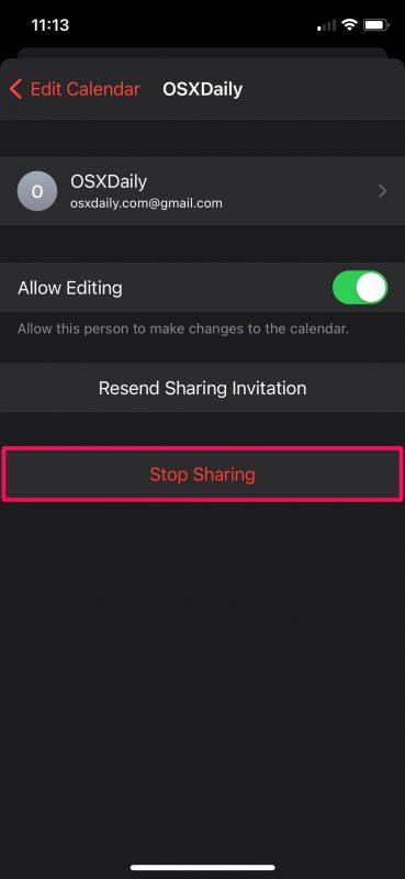 Как перестать делиться календарями на iPhone и iPad