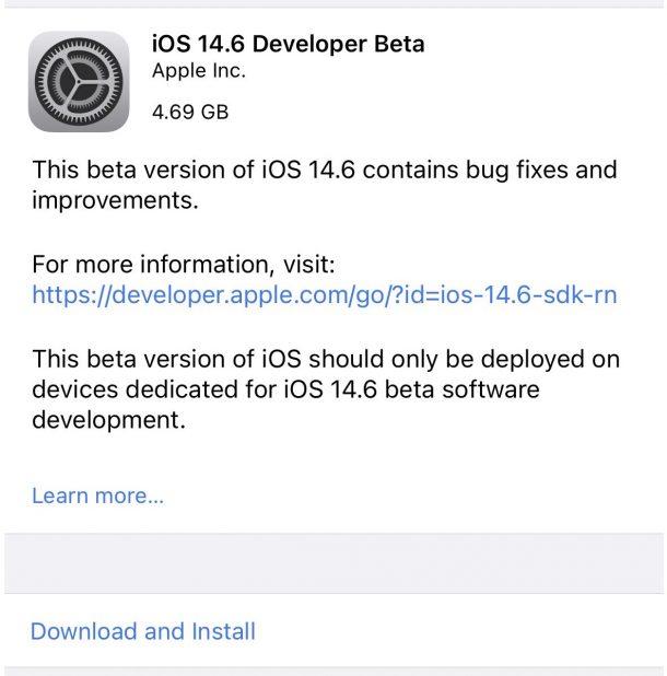 iOS 14.6 бета