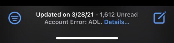 Ошибка учетной записи электронной почты AOL