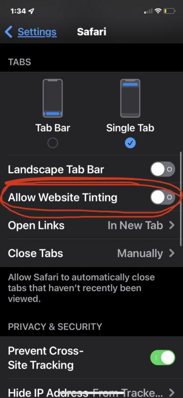 Отключить цветовой эффект тонирования Safari на iPhone и iPad