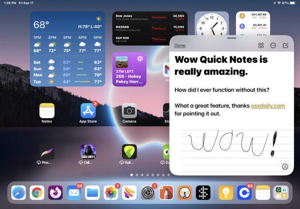iPadOS быстрые заметки