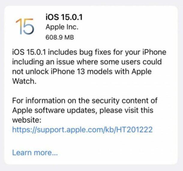 Обновление iOS 15.0.1