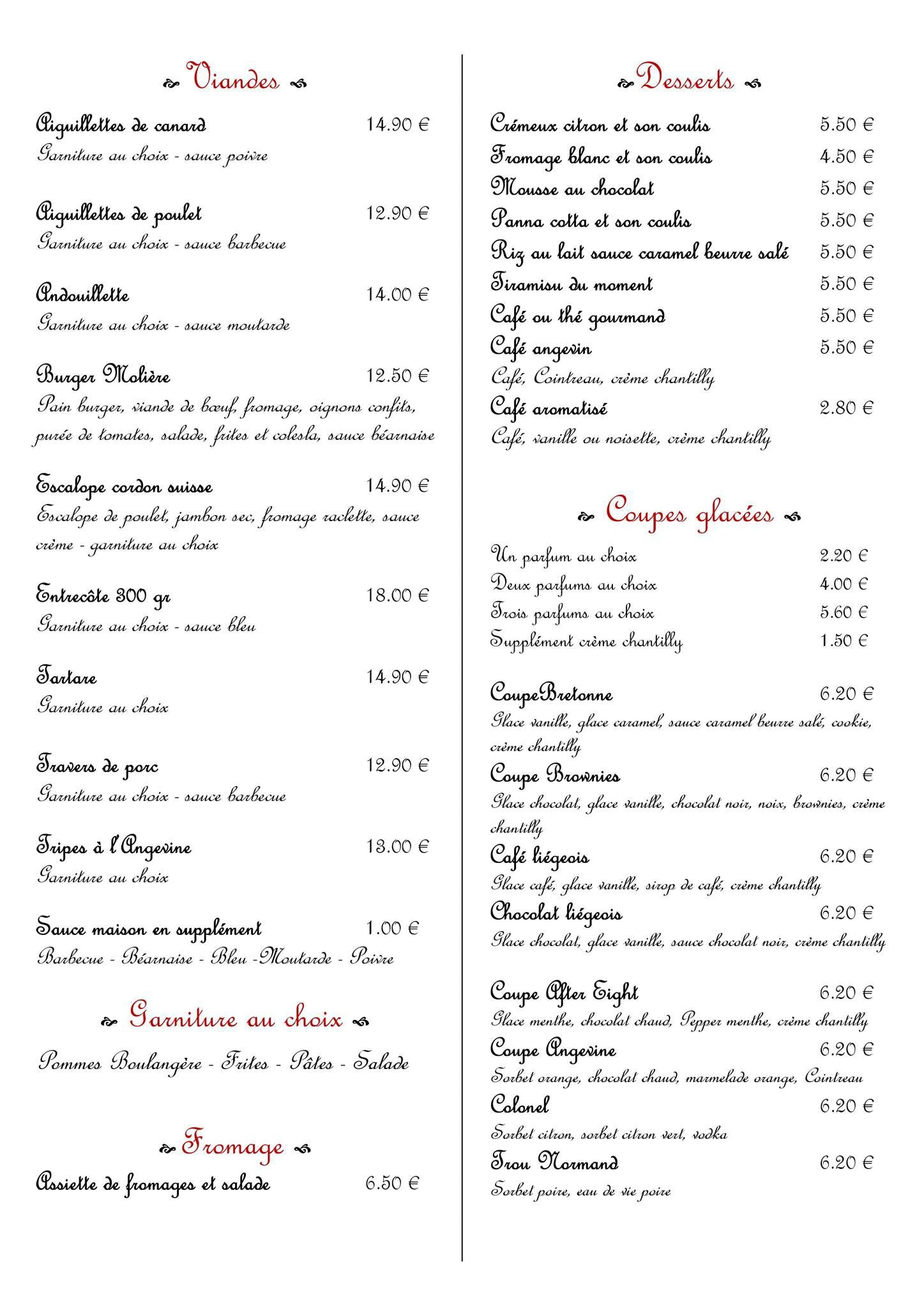 Menu 99 Restaurant Pub