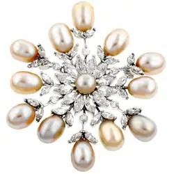 Silvertone-CZ-Snowflake-Pin