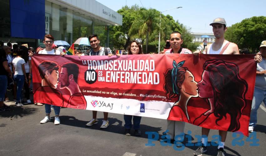 """Con pancartas, criticaron a quienes les dicen """"enfermos"""", pues argumentan que la sexualidad se elige/Fotos: Francisco Tapia"""