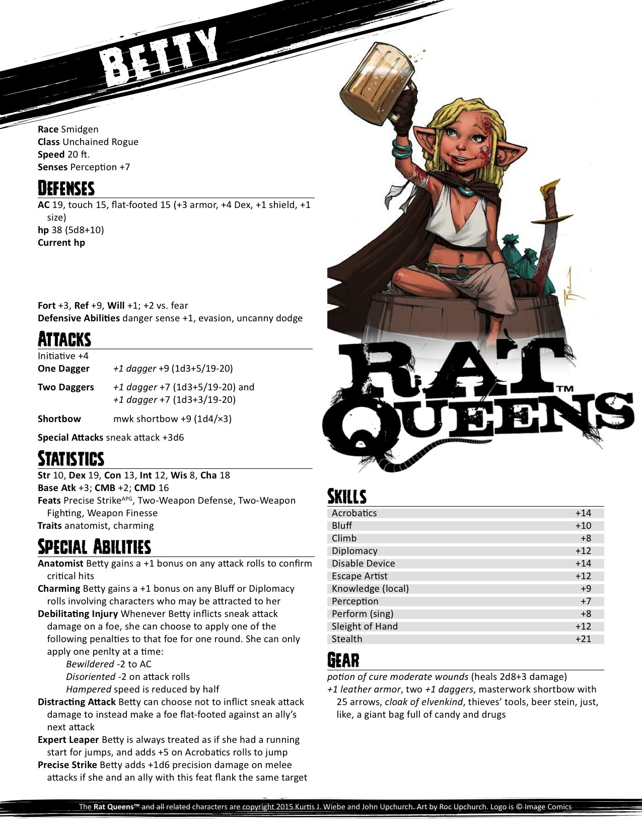 paizocom  PaizoCon 2015 Rat Queens Pregenerated