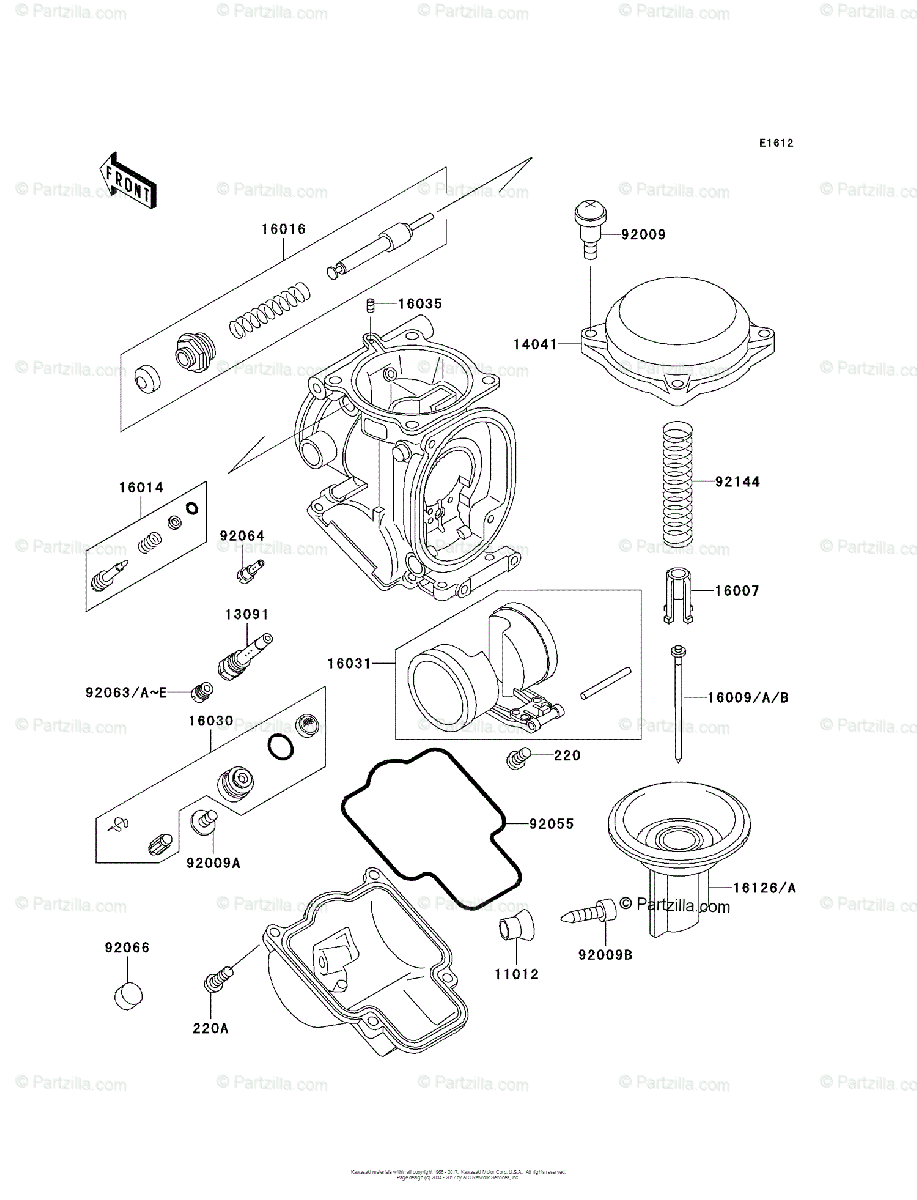 Kawasaki Motorcycle 1996 OEM Parts Diagram for Carburetor