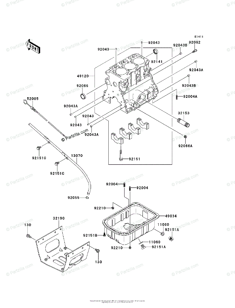 Kawasaki Side by Side 2012 OEM Parts Diagram for Crankcase