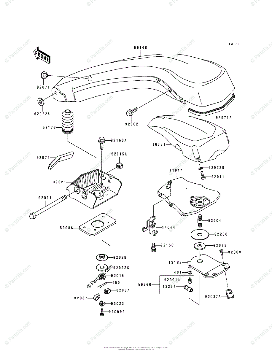 Kawasaki Jet Ski 1992 OEM Parts Diagram for Handle Pole