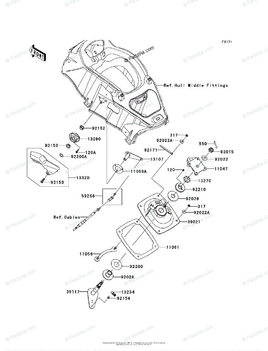 Kawasaki Jet Ski 2011 OEM Parts Diagram for Handle Pole