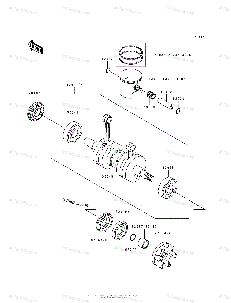 Kawasaki Jet Ski 1992 OEM Parts Diagram for Crankshaft