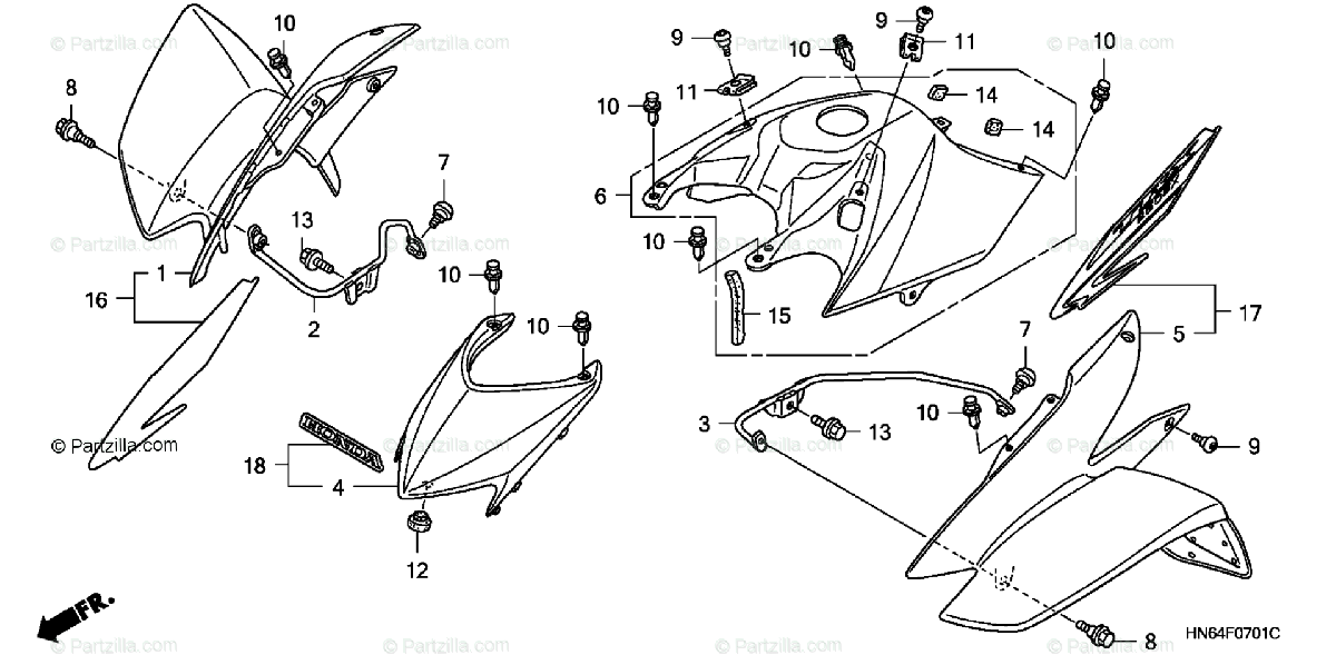 Honda ATV 2007 OEM Parts Diagram for Front Fender ('06