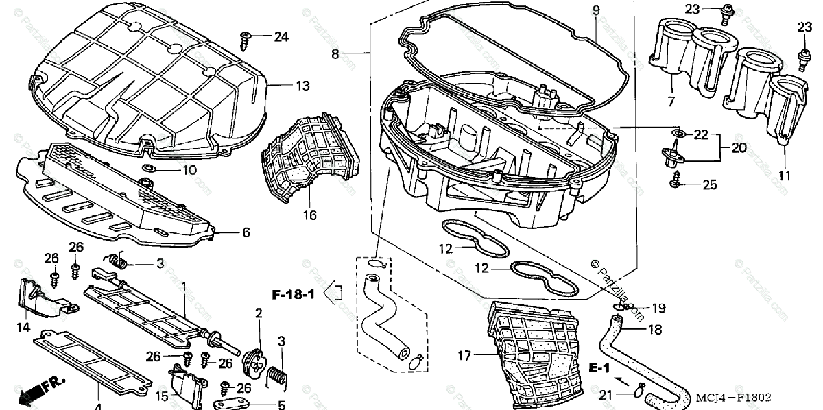 Honda Motorcycle 2002 OEM Parts Diagram for Air Cleaner