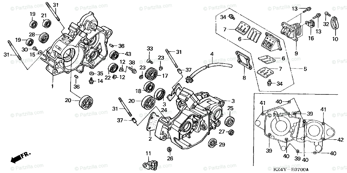 Honda Motorcycle 2000 OEM Parts Diagram for Crankcase