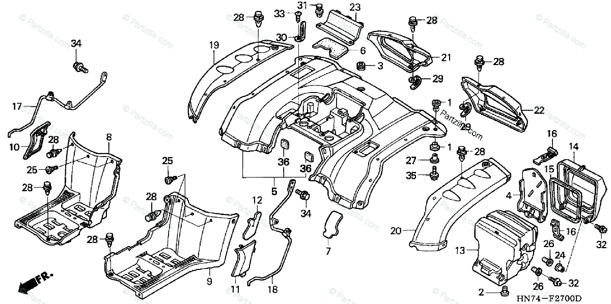 Honda ATV 2005 OEM Parts Diagram for REAR FENDER