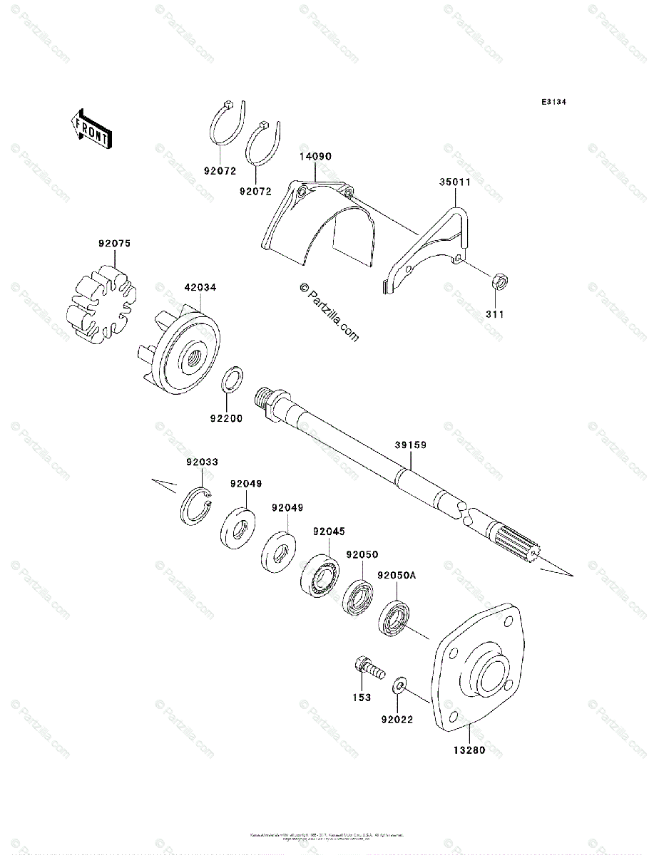 Kawasaki Jet Ski 2006 OEM Parts Diagram for Drive Shaft
