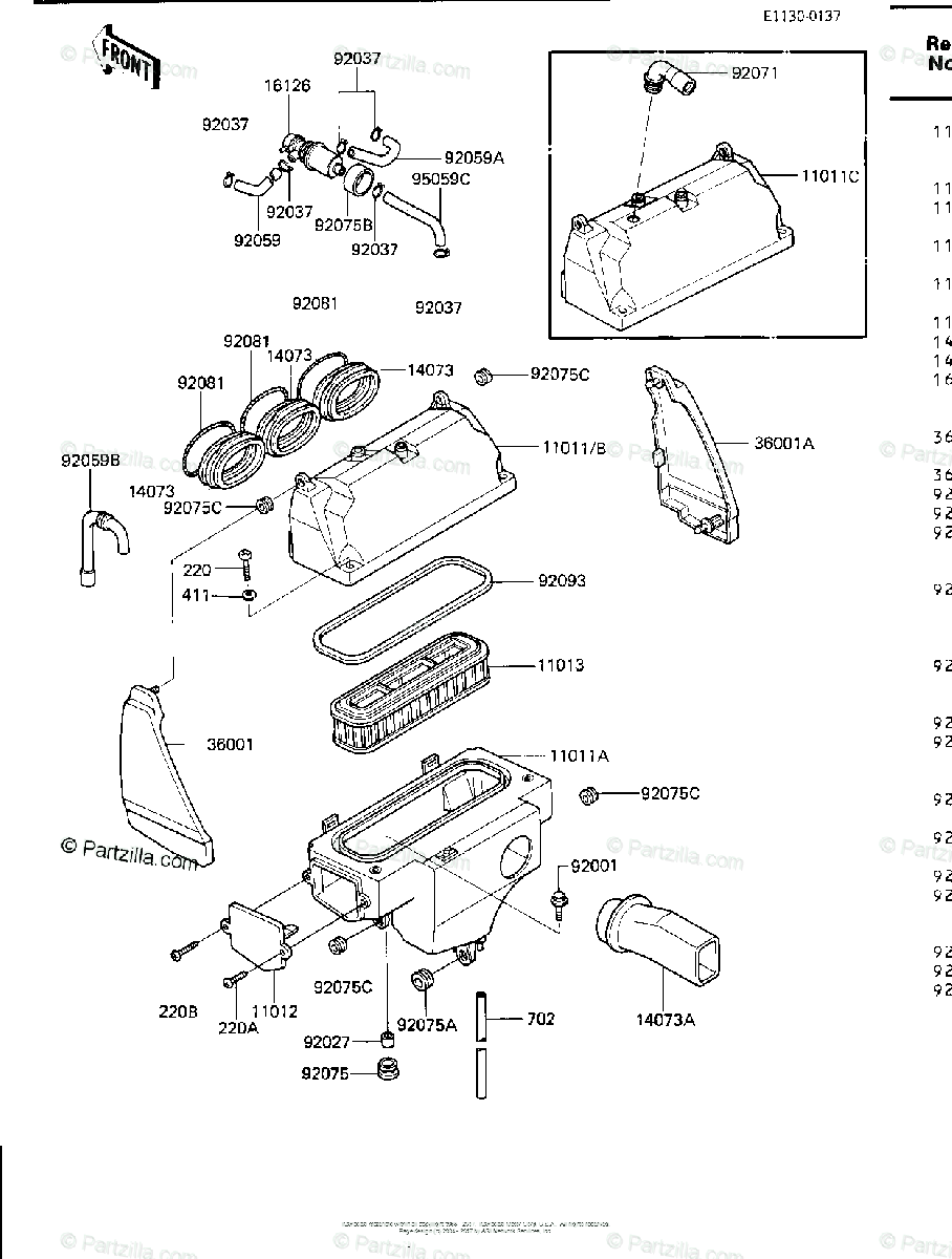 Kawasaki Motorcycle 1986 OEM Parts Diagram for Air Cleaner