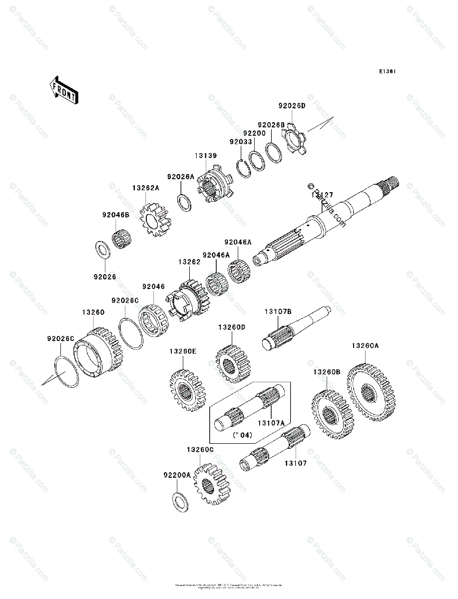 Kawasaki ATV 2004 OEM Parts Diagram for TRANSMISSION